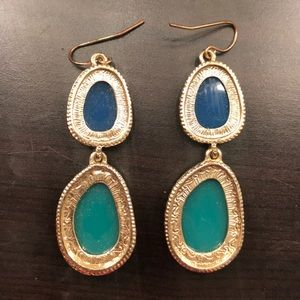 Francesca's Collections Jewelry - Blue and Green Statement Drop Earrings